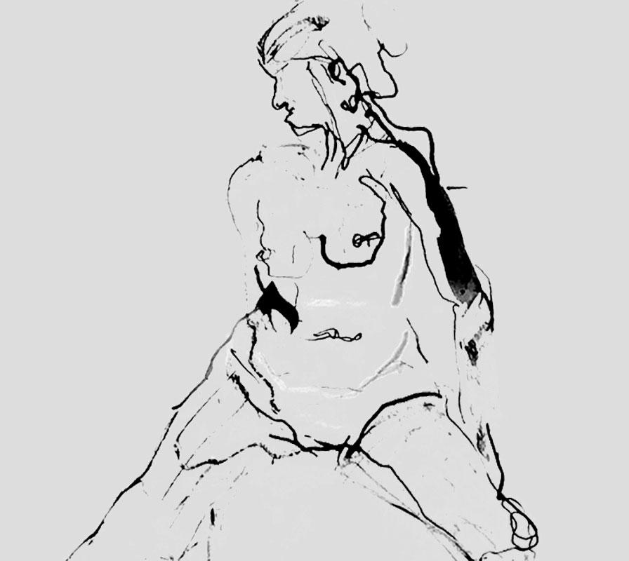 Croquis skitse i tusch